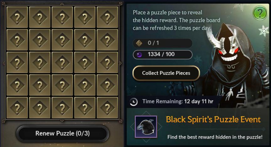 Black Desert Mobile Event Puzzle 29.01 List of rewards