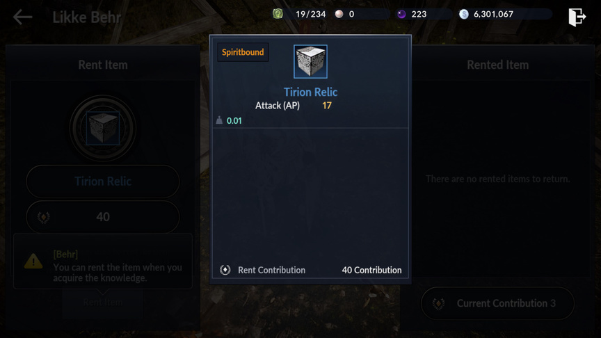 Relics in start game in Black Desert Mobile